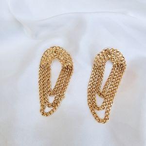 Vintage gold chain earrings